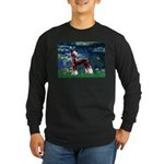 Lilies / Chinese Crested Long Sleeve Dark T-Shirt