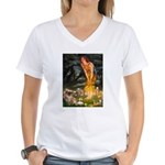 Fairies / Tibetan Spaniel Women's V-Neck T-Shirt