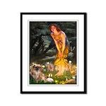Fairies / Tibetan Spaniel Framed Panel Print