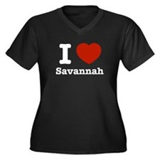I love Savanah Women's Plus Size V-Neck Dark T-Shi