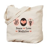 Peace Love Medicine Caduceus Tote Bag
