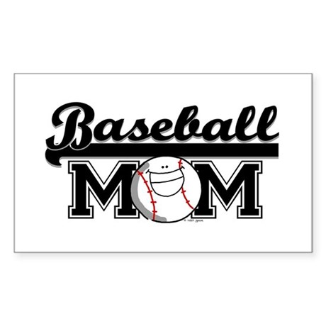 Baseball mom silver Rectangle Sticker