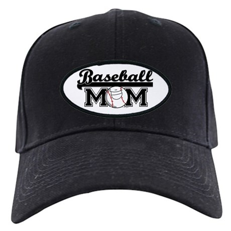 Baseball mom silver Black Cap