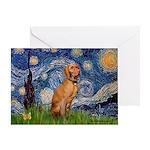 Starry Night / Vizsla Greeting Card