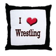 I Love (Heart) Wrestling Throw Pillow