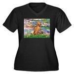 Lilies / Vizsla Women's Plus Size V-Neck Dark T-Sh