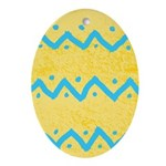 Yellow and Blue Stripe Easter Egg Oval Ornament