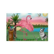 Golfing Flamingo & Corgi Rectangle Magnet (10 pack