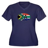 South Africa Colors Oval Women's Plus Size V-Neck