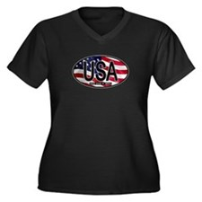 USA Colors Oval 2 Women's Plus Size V-Neck Dark T-
