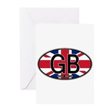 Great Britain Colors Oval Greeting Cards (Pk of 10