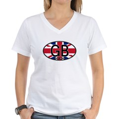 Great Britain Colors Oval Women's V-Neck T-Shirt