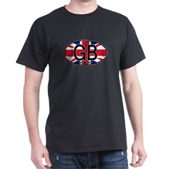 Great Britain Colors Oval Dark T-Shirt