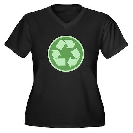 Recycle -Cl Women's Plus Size V-Neck Dark T-Shirt