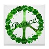 Irish Peace Love and Shamrocks Tile Coaster