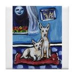 CANAAN DOG art Tile Coaster