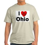 I Love Ohio Ash Grey T-Shirt
