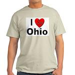 I Love Ohio (Front) Ash Grey T-Shirt