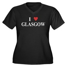 I Love Glasgow Women's Plus Size V-Neck Dark T-Shi