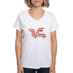 Dragon logo Distressed Women's V-Neck T-Shirt