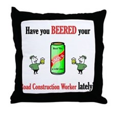 Road Construction Worker Throw Pillow