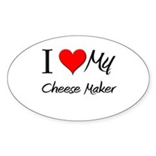 I Heart My Cheese Maker Oval Decal