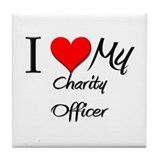 I Heart My Charity Officer Tile Coaster