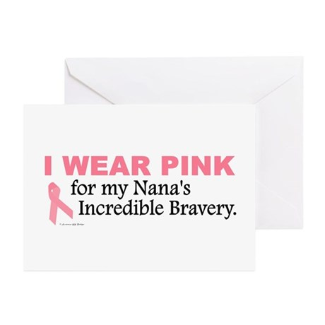 Pink For My Nana's Bravery 1 Greeting Cards (Pk of