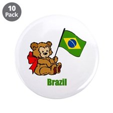 "Brazil Teddy Bear 3.5"" Button (10 pack)"