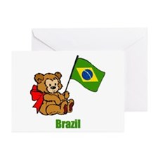 Brazil Teddy Bear Greeting Cards (Pk of 10)
