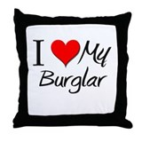 I Heart My Burglar Throw Pillow