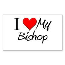 I Heart My Bishop Rectangle Decal