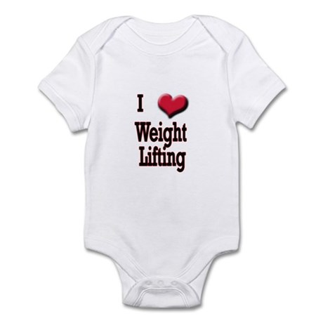 I Love (Heart) Weight Lifting Infant Bodysuit