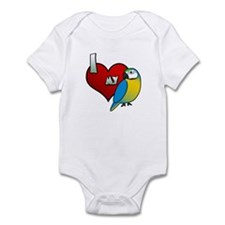 I Love My Blue & Gold Macaw Baby Bodysuit