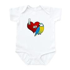I Love My Blue & Gold Macaw Baby Bodysuit