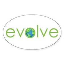 Evolve - planet earth Oval Decal
