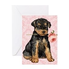 Airedale Rose Greeting Card