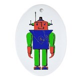 Colorful Robot Oval Ornament
