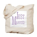 Lilac Text Just Married Tote Bag