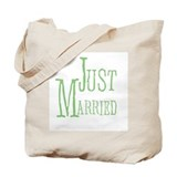 Green Text Just Married Tote Bag