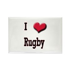I Love (Heart) Rugby Rectangle Magnet (10 pack)