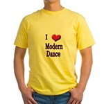 I Love (Heart) Modern Dance Yellow T-Shirt