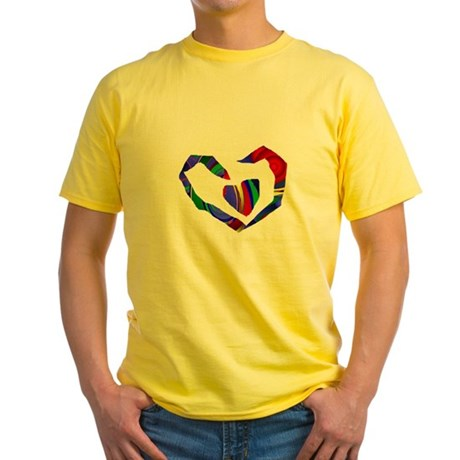 Abstract Heart Yellow T-Shirt