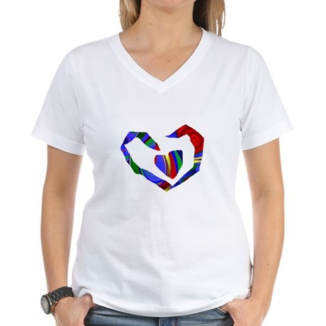 Abstract Heart Women's V-Neck T-Shirt