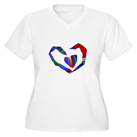 Abstract Heart Women's Plus Size V-Neck T-Shirt
