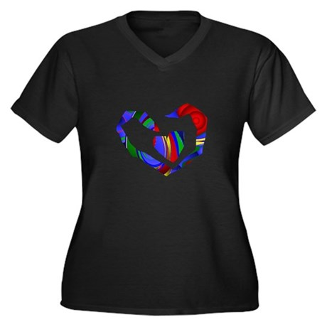 Abstract Heart Women's Plus Size V-Neck Dark T-Shi