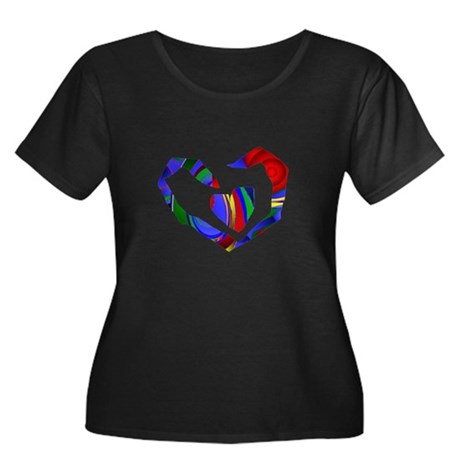 Abstract Heart Women's Plus Size Scoop Neck Dark T