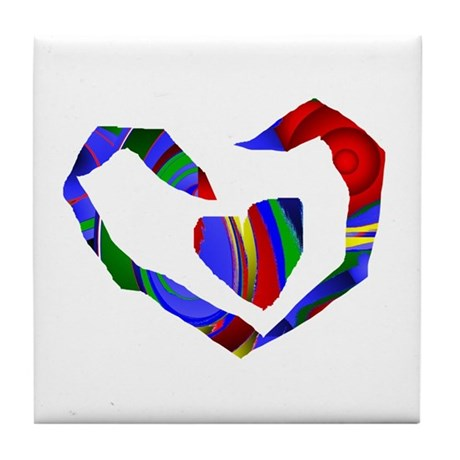 Abstract Heart Tile Coaster