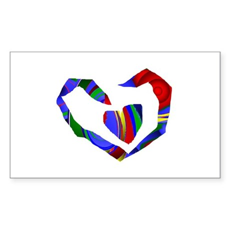 Abstract Heart Rectangle Sticker