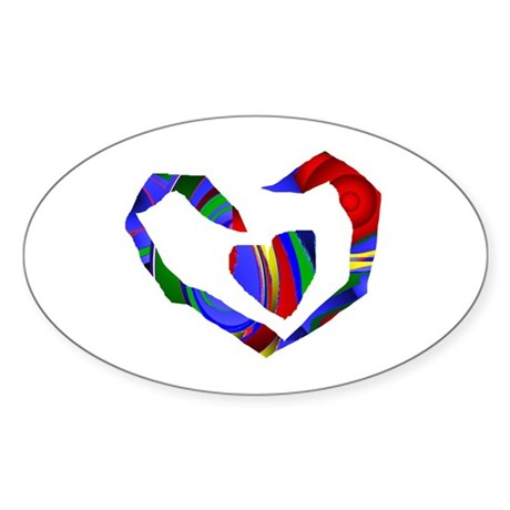 Abstract Heart Oval Sticker